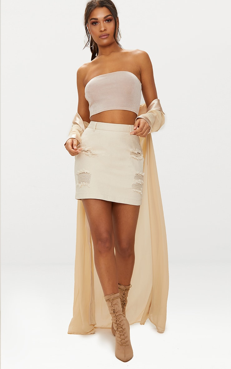 Ecru Roschian Distress Mini Skirt 5