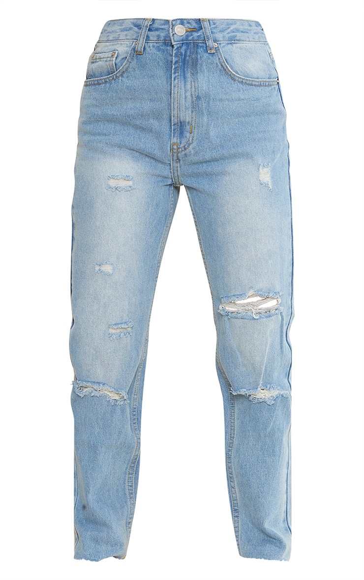 Petite Light Wash Ripped Mom Jeans 5