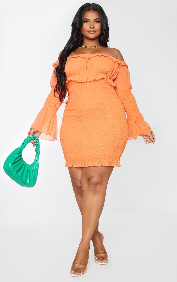 Plus Bright Orange Chiffon Shirred Bodycon Dress 1