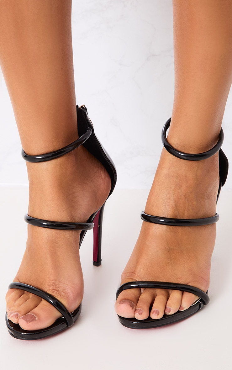 Marthea Black Tube Strap Heeled Sandals 2