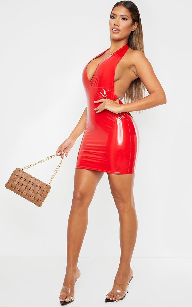 Shape Red Vinyl Halterneck Plunge Bodycon Dress 3