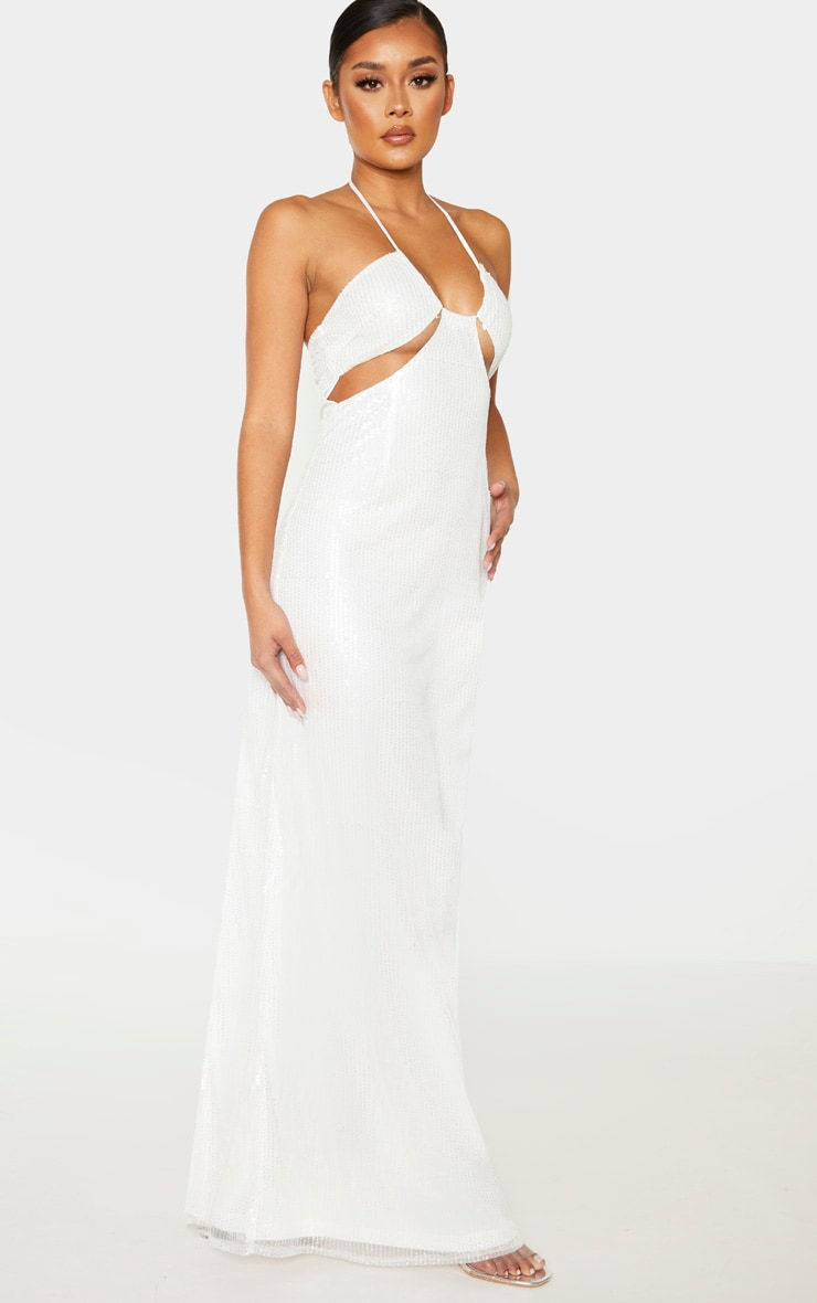 White Sequin Cut Out Detail Halterneck Maxi Dress  4