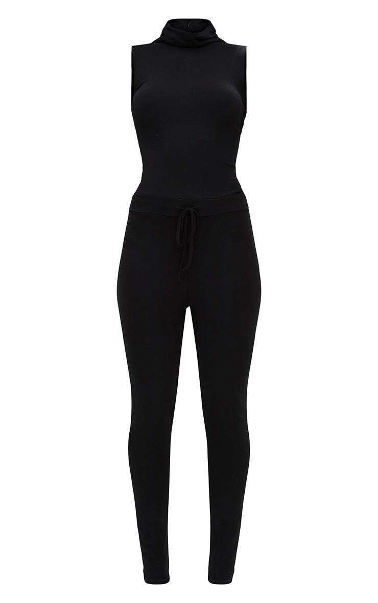 Black Ribbed Sleeveless Roll Neck Jumpsuit 3