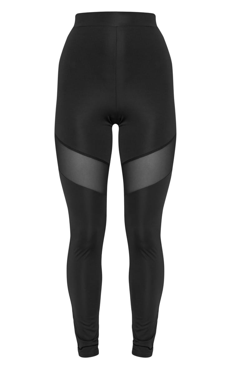 Black Mesh Thigh Gym Legging 3