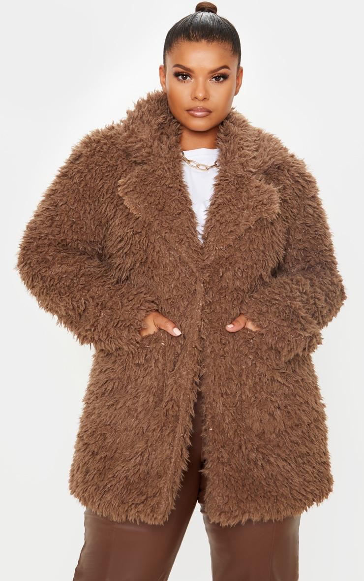 Plus Brown Teddy Faux Collar Coat 4