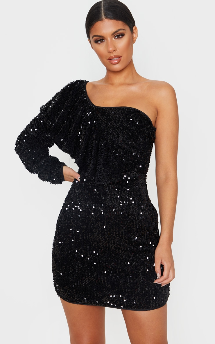 Black Sequin One Shoulder Ruffle Detail Bodycon Dress 1