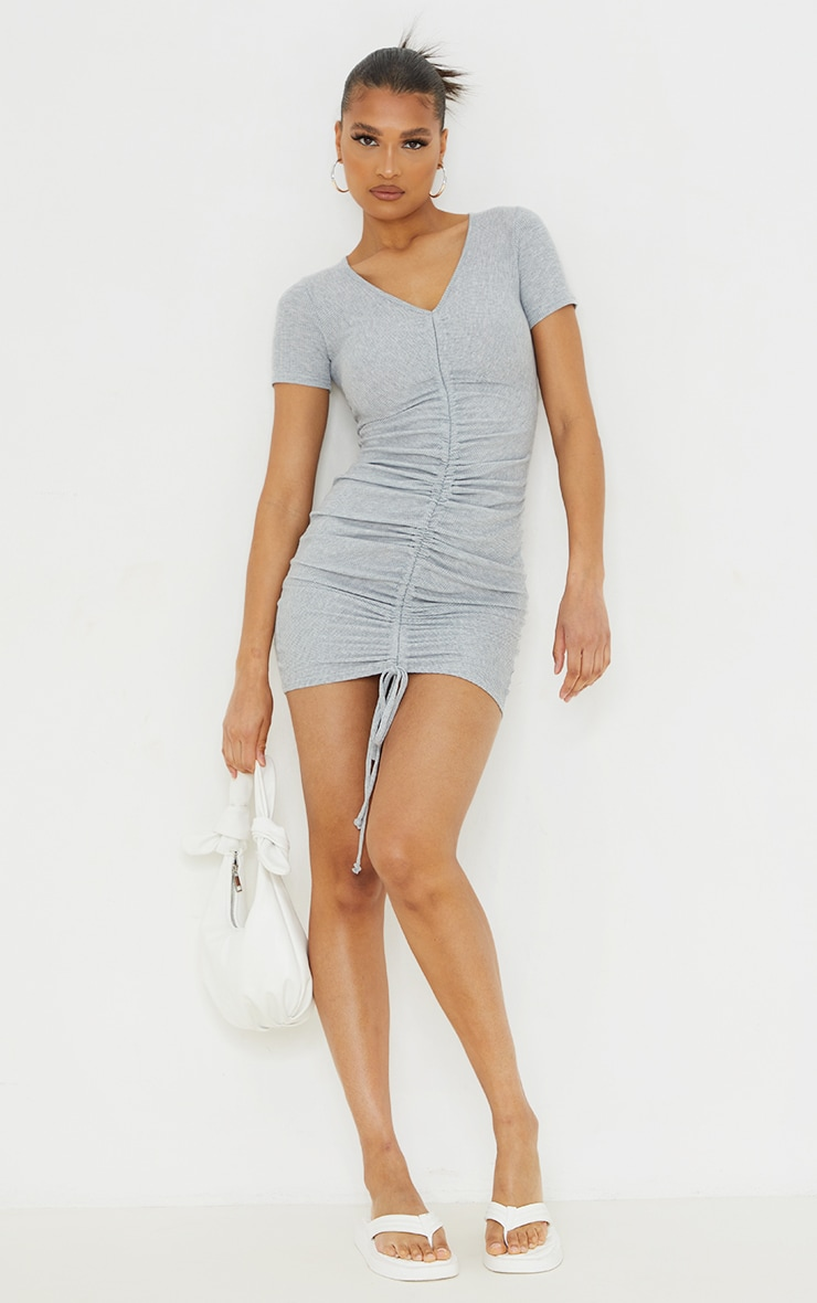 Grey Rib Ruched Front Short Sleeve Bodycon Dress 1