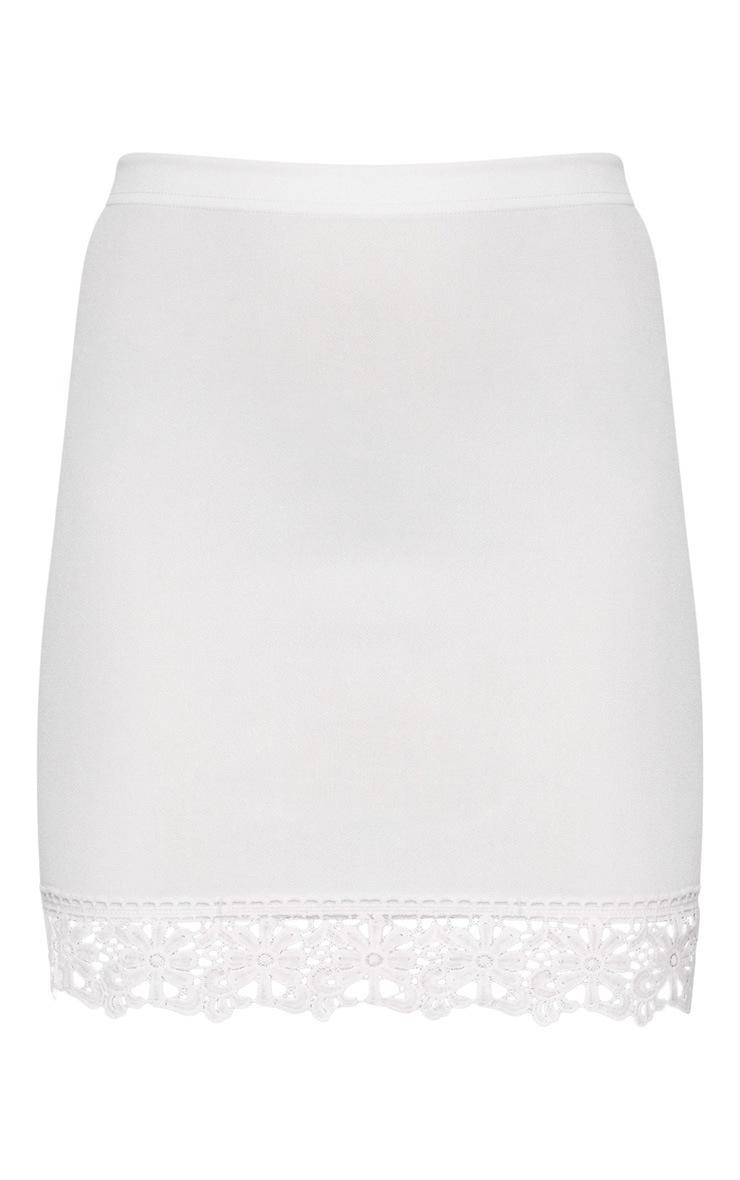 White Crochet Trim Detail Mini Skirt 3