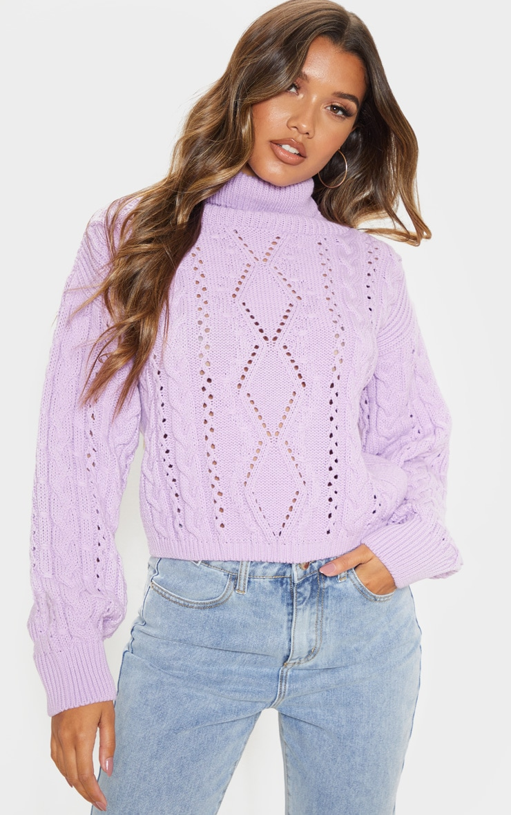 Lilac Cut Out Detail Roll Neck Jumper 1