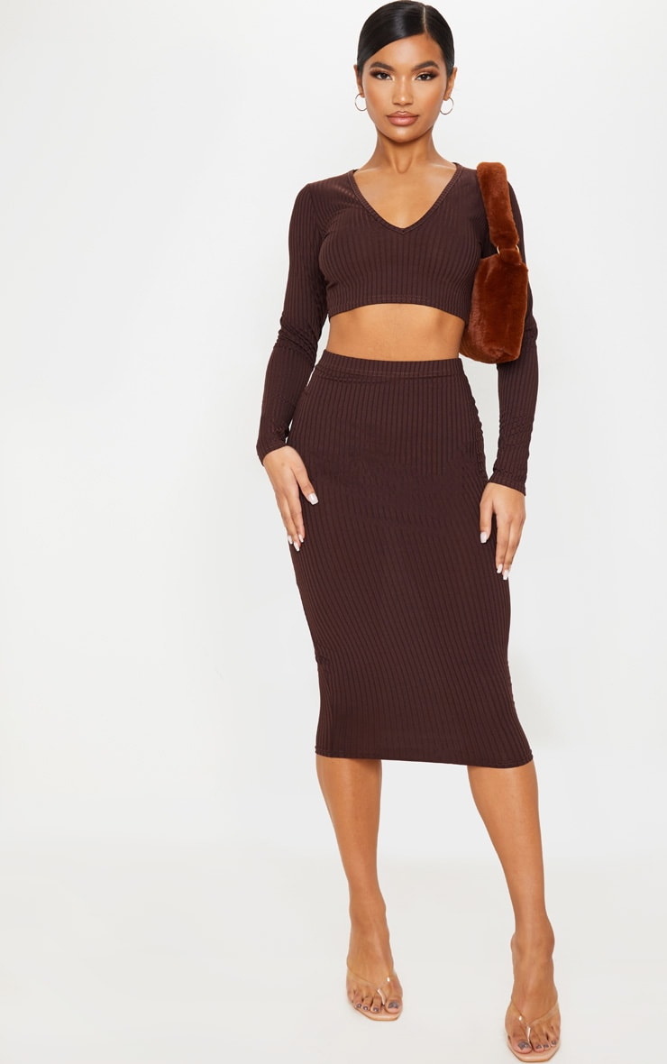 Brown Ribbed High Waist Midi Skirt 1