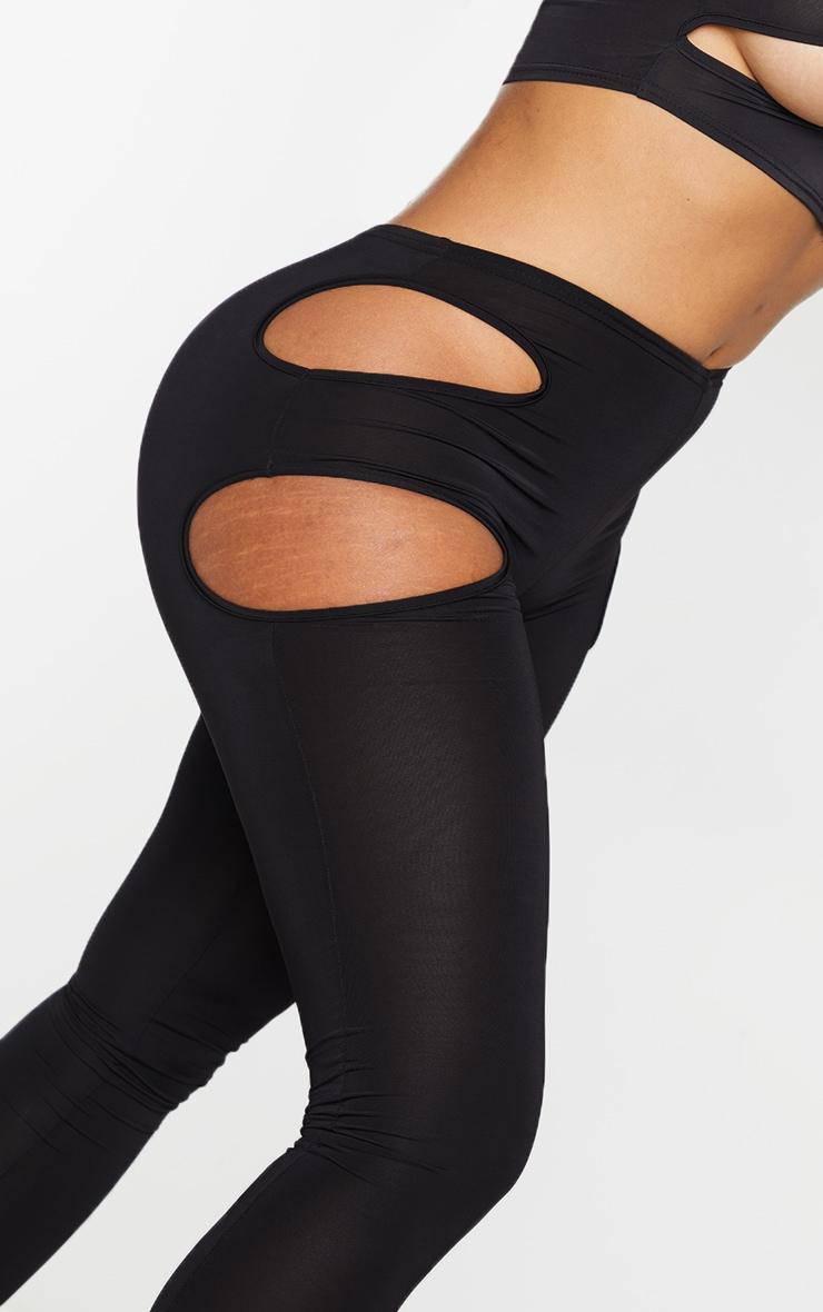 Shape Black Slinky Cut Out Side Leggings 4