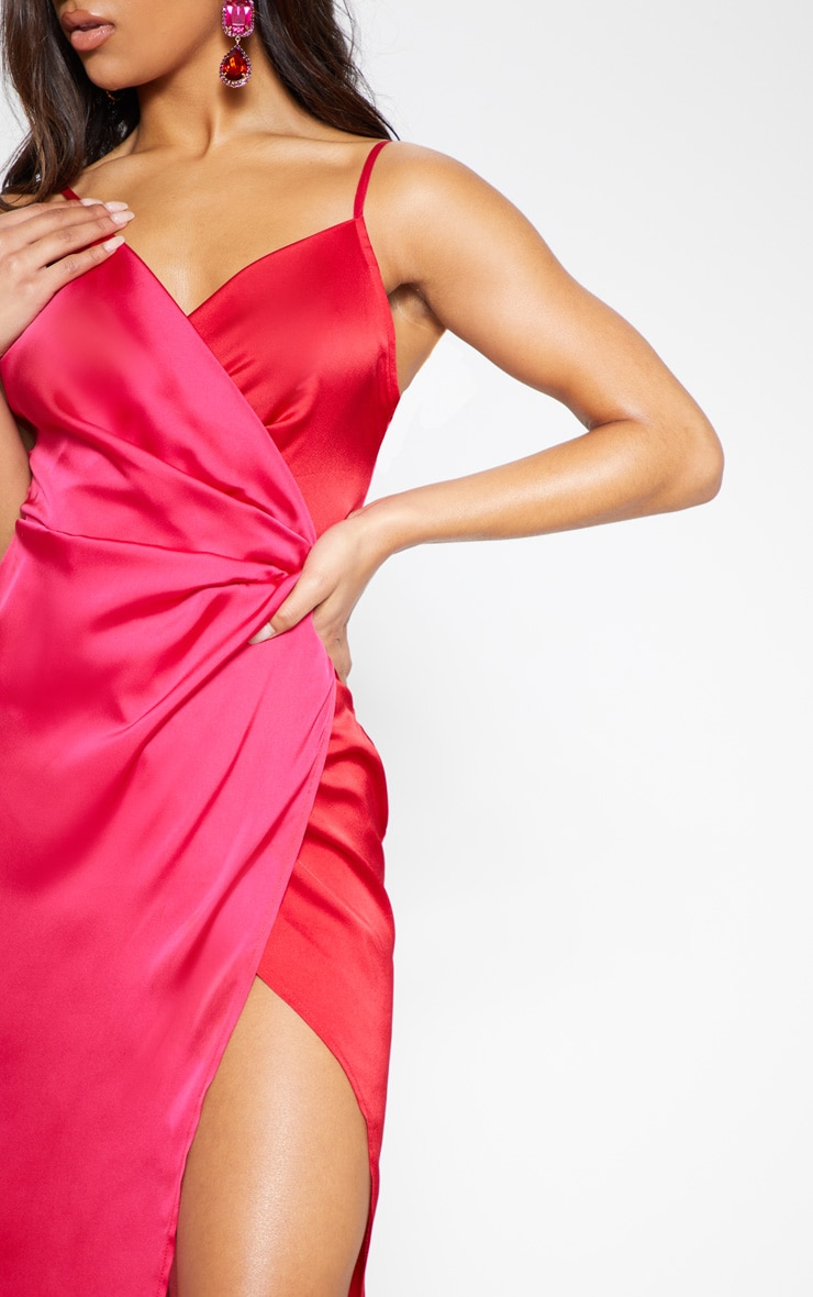 Red Colour Block Satin Wrap Detail Midi Dress 6