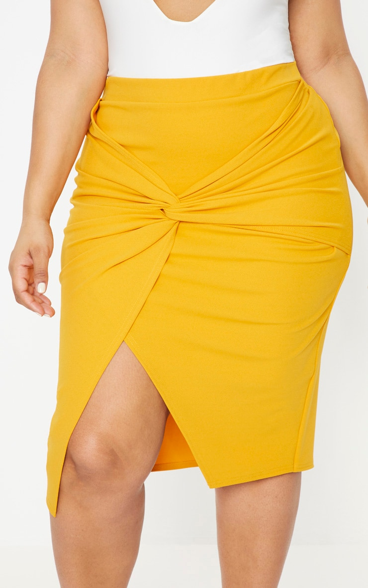 Plus Mustard Knot Front Midi Skirt 5