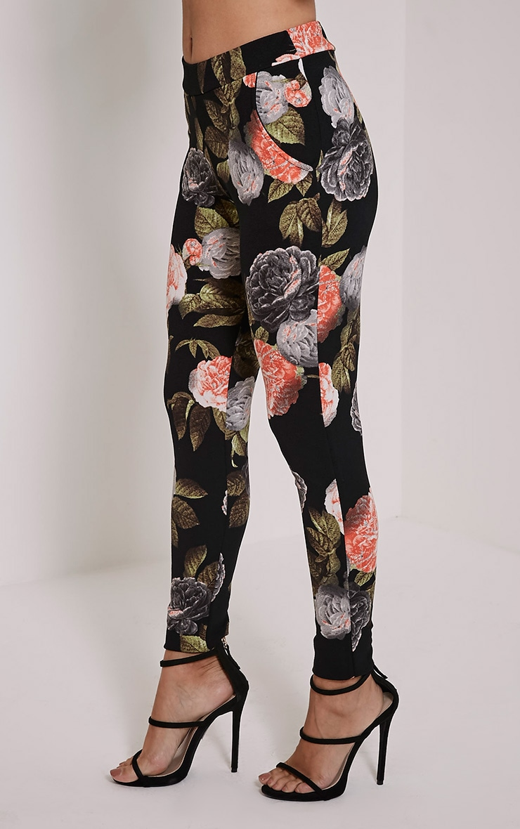 Charleze Black Floral Trousers 4