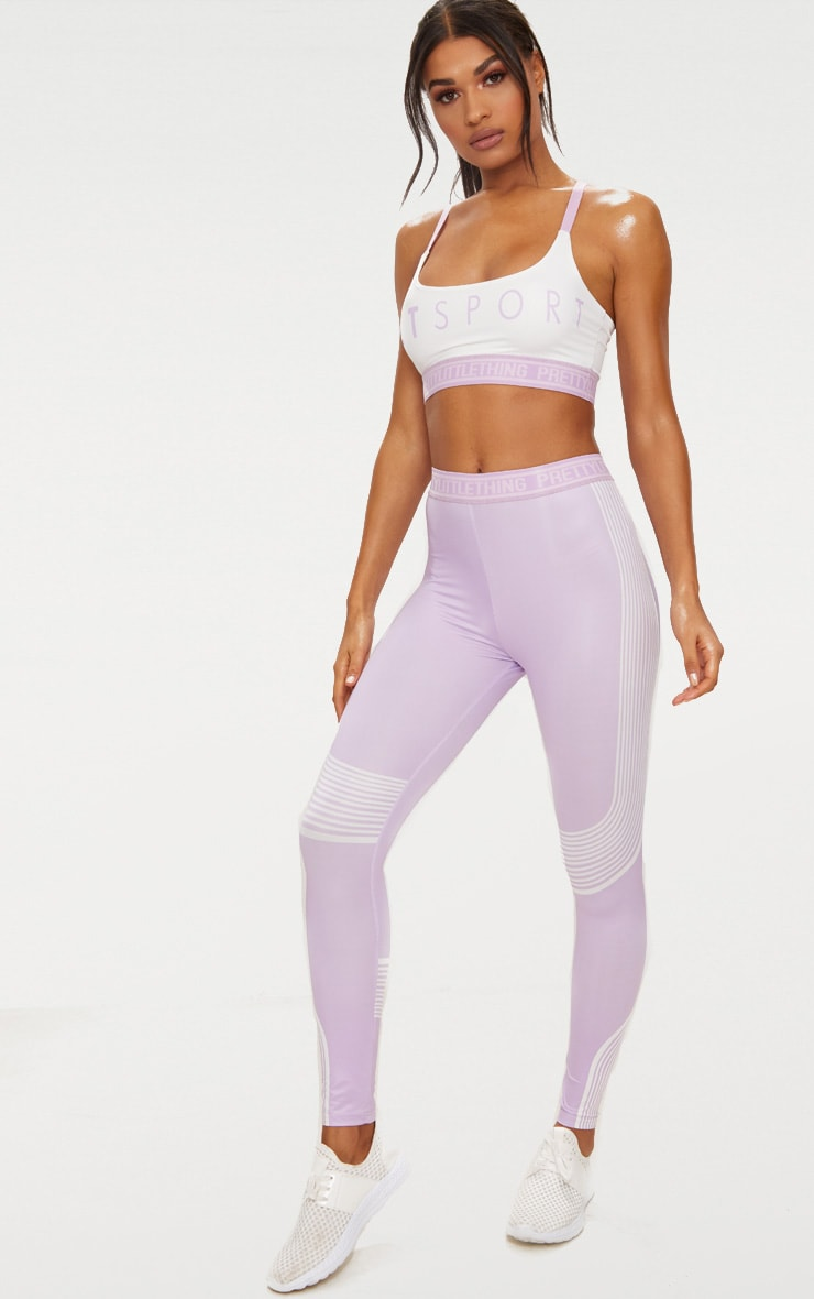 PRETTYLITTLETHING Lilac Contour Stripe Leggings 1