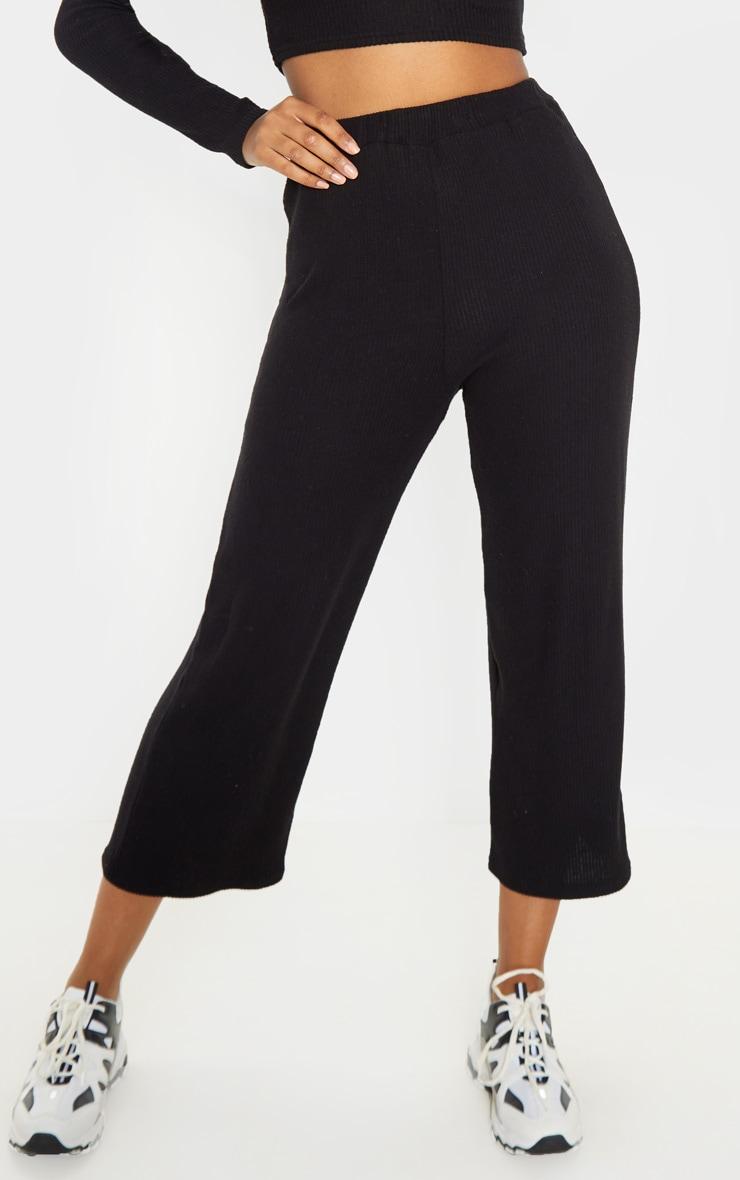 Black Brushed Rib Wide Leg Culotte 5