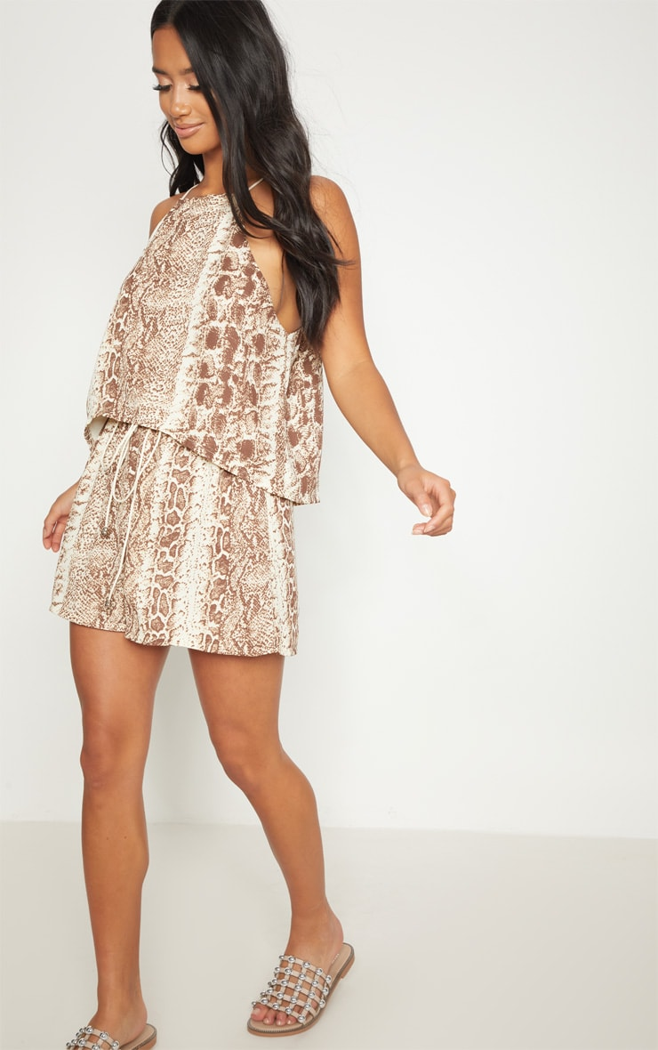 Petite Brown Snake Print Floaty Tie Back Top 4
