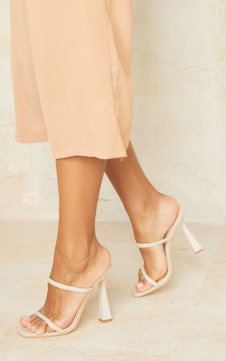 Nude Pu Double Strap Heeled Mules 2