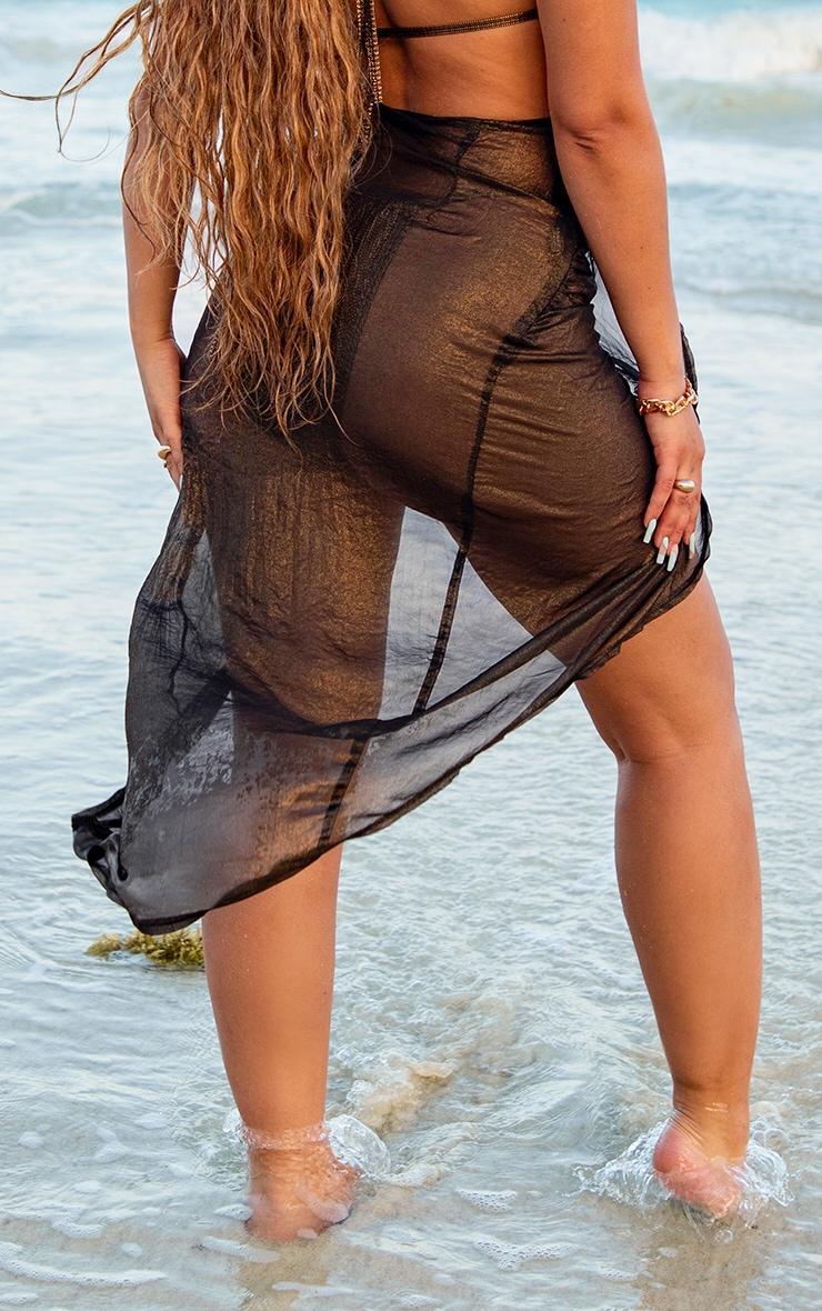 Black Metallic Split Front Beach Skirt 2