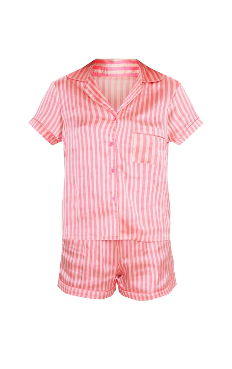 Pink Stripe Button Up Short Pyjama Set 3