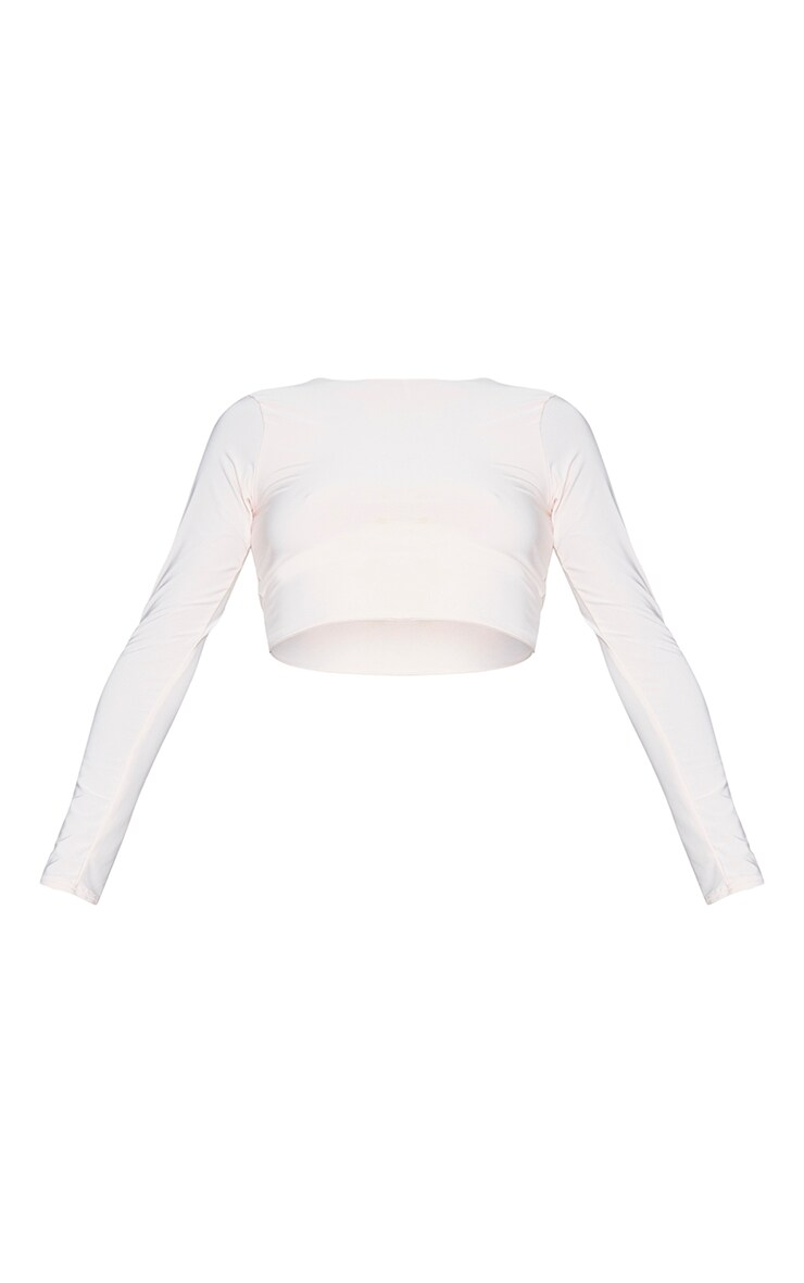 Nude Slinky Tie Back Cropped T Shirt 5