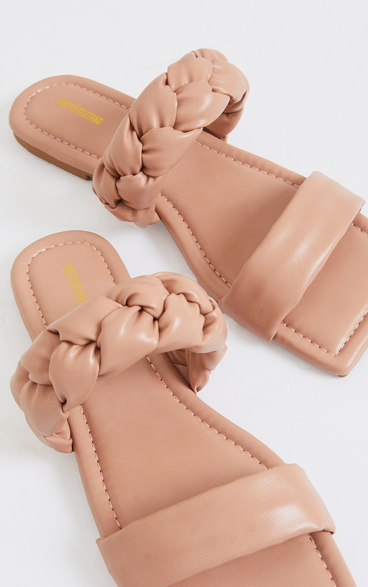 Nude PU Double Strap Plaited Mule Sandals 4