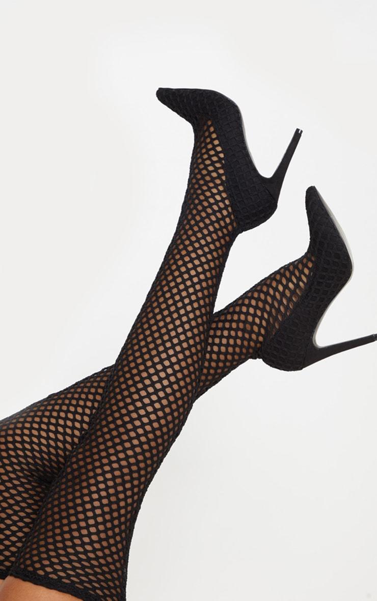 Black Fishnet Thigh High Boot 2