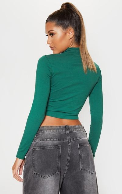 Dark Green Jersey Lace Up Crop Top