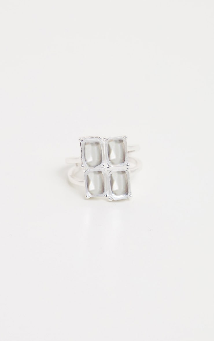 Silver Four Crystal Gemstone Multi Ring 2