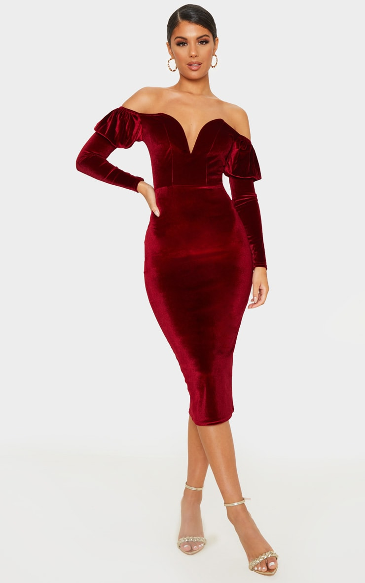Burgundy Velvet V Bar Puff Sleeve Midi Dress 1