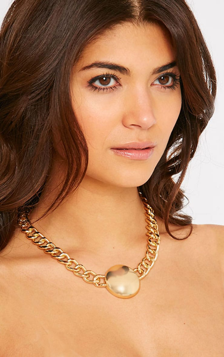 Cammy Gold Circle Chunky Chain Necklace 2