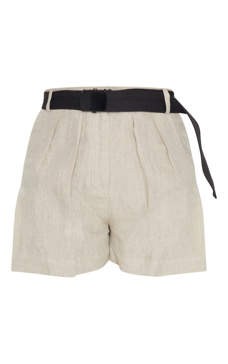 Stone Linen Feel Belted Shorts 6