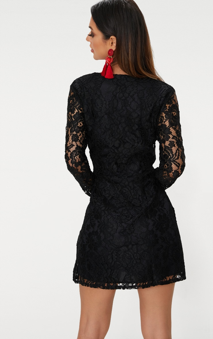 Black Plunge Long Sleeve Lace Bodycon Dress 2