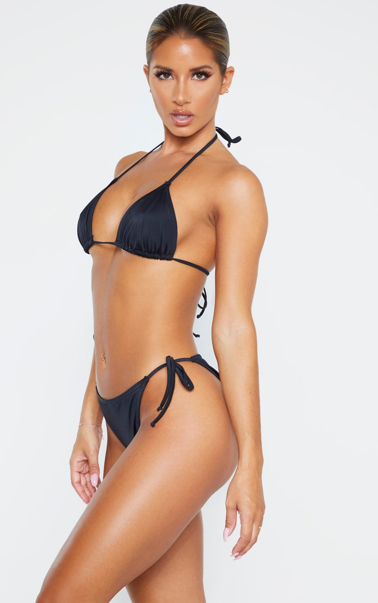 Black Recycled Fabric Mix & Match Tie Side Bikini Bottom 2