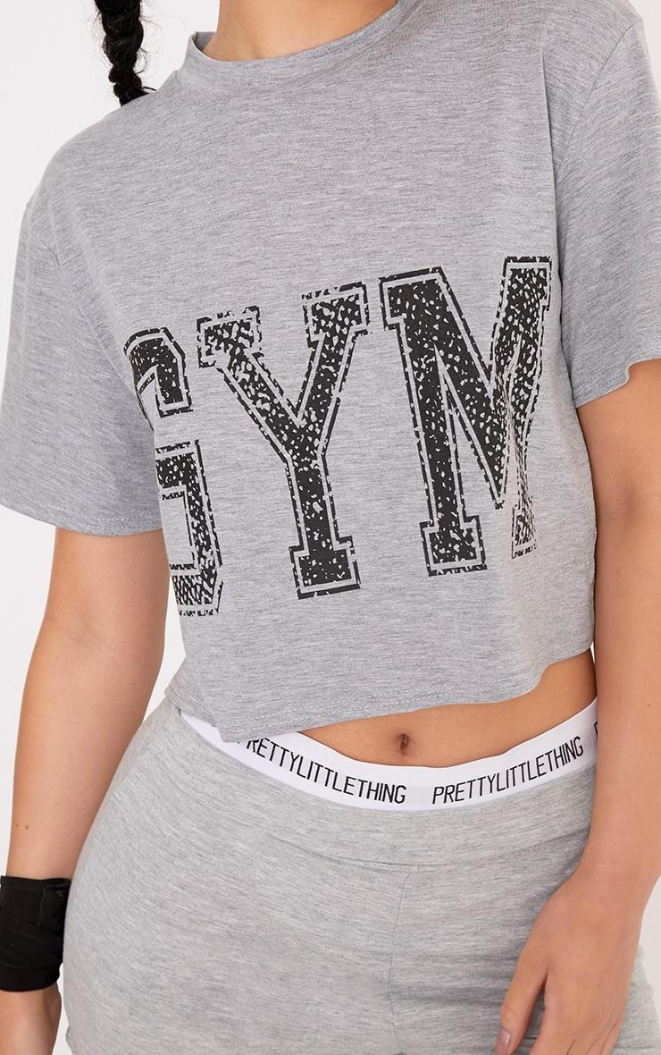 Gym Grey Slogan Crop T Shirt 5