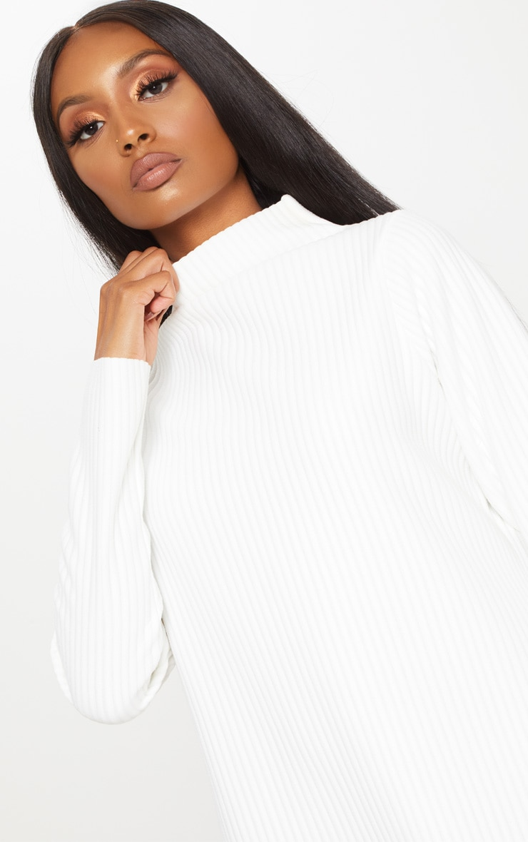 White High Neck Thick Ribbed Oversized Jumper Dress 5