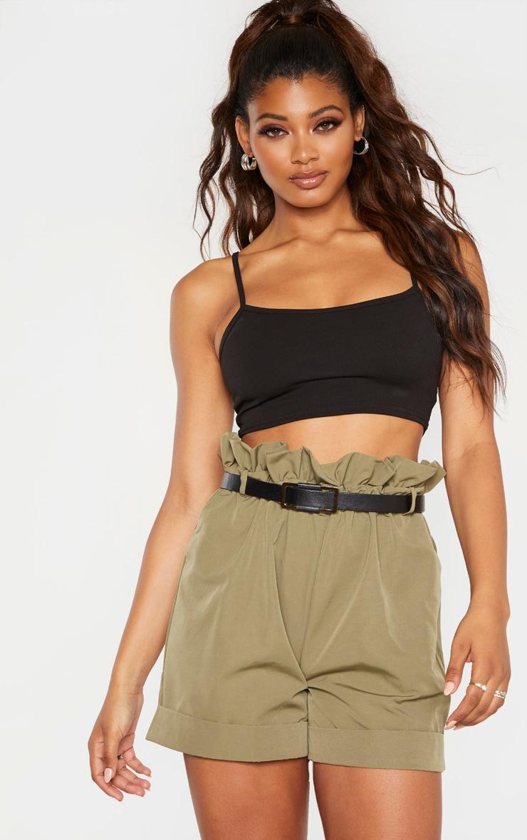 Tall Khaki High Waist Paperbag Belted Shorts 5