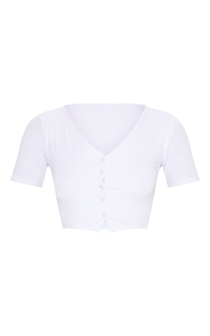 White Jersey Button Front Short Sleeve Crop Top 3