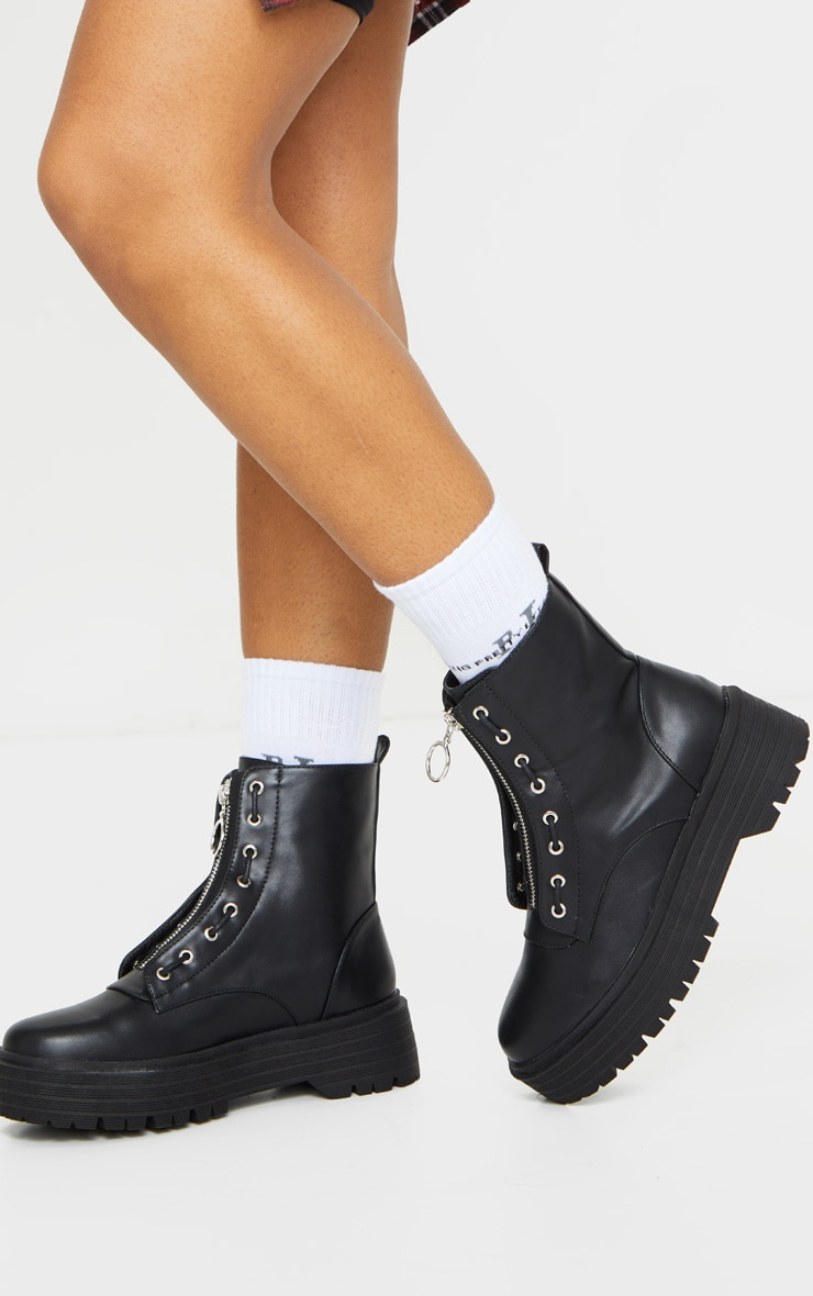 Black Double Sole Zip Front Biker Boots 2