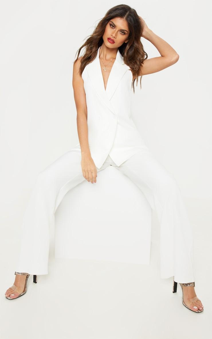 White Sleeveless Blazer  4