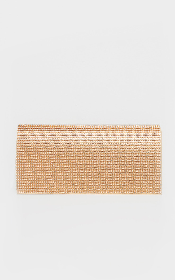 Gold Metallic Diamante Clutch Bag 2