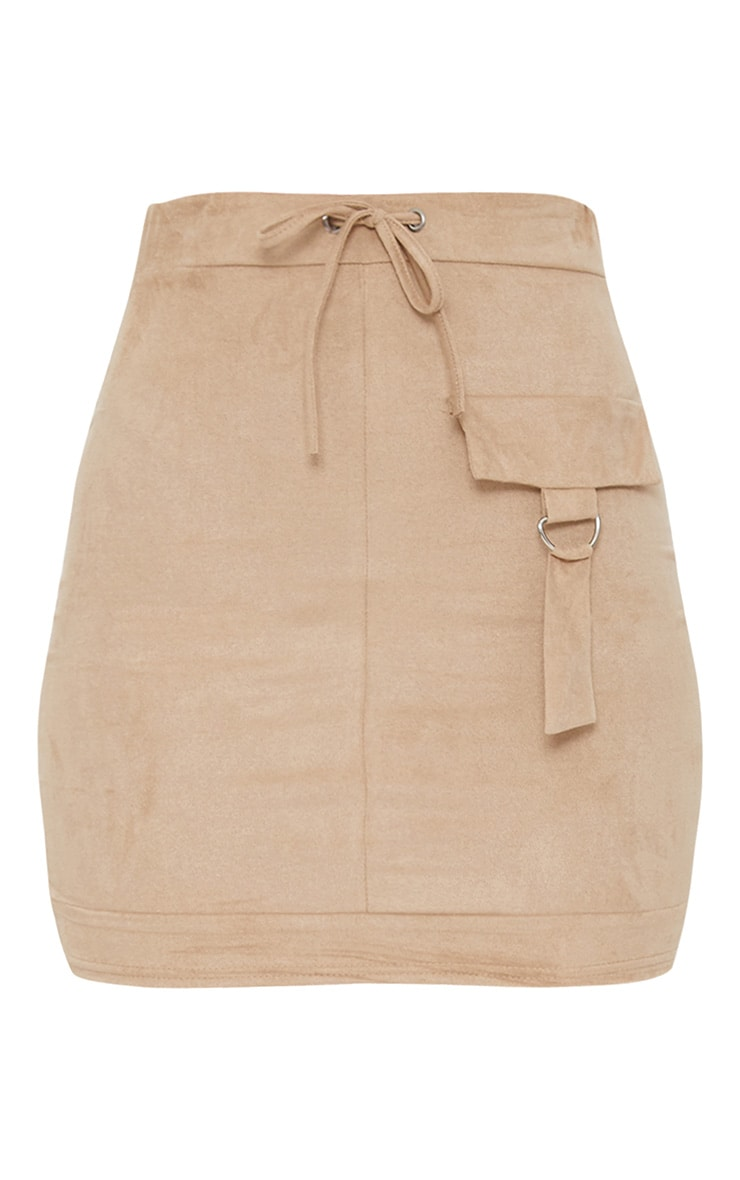 Stone Faux Suede Military Pocket Detail Skirt 3