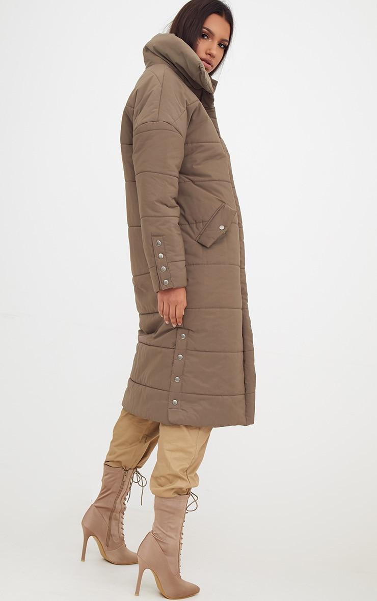 Premium Khaki Longline Puffer Jacket 2