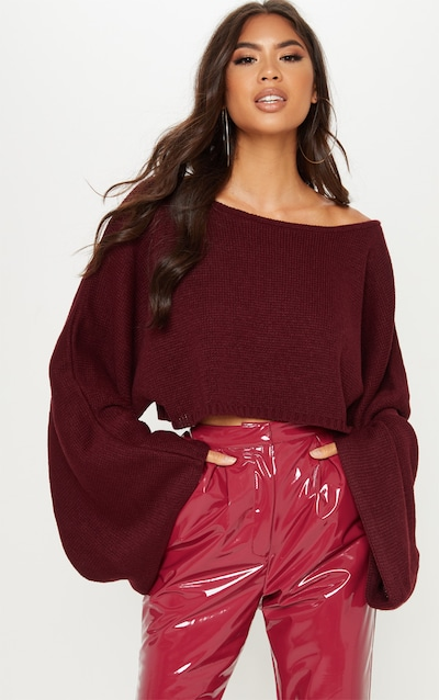 Burgundy Knitted Wide Sleeve Jumper