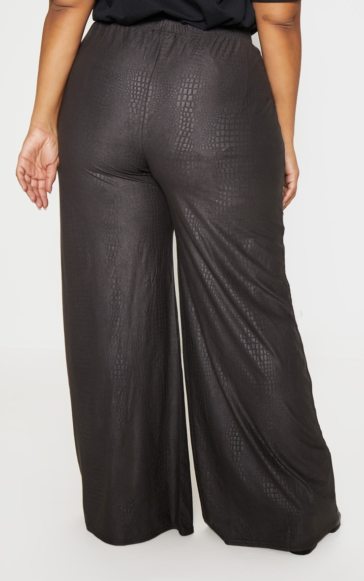 Plus Black Textured Wide Leg Pants  4