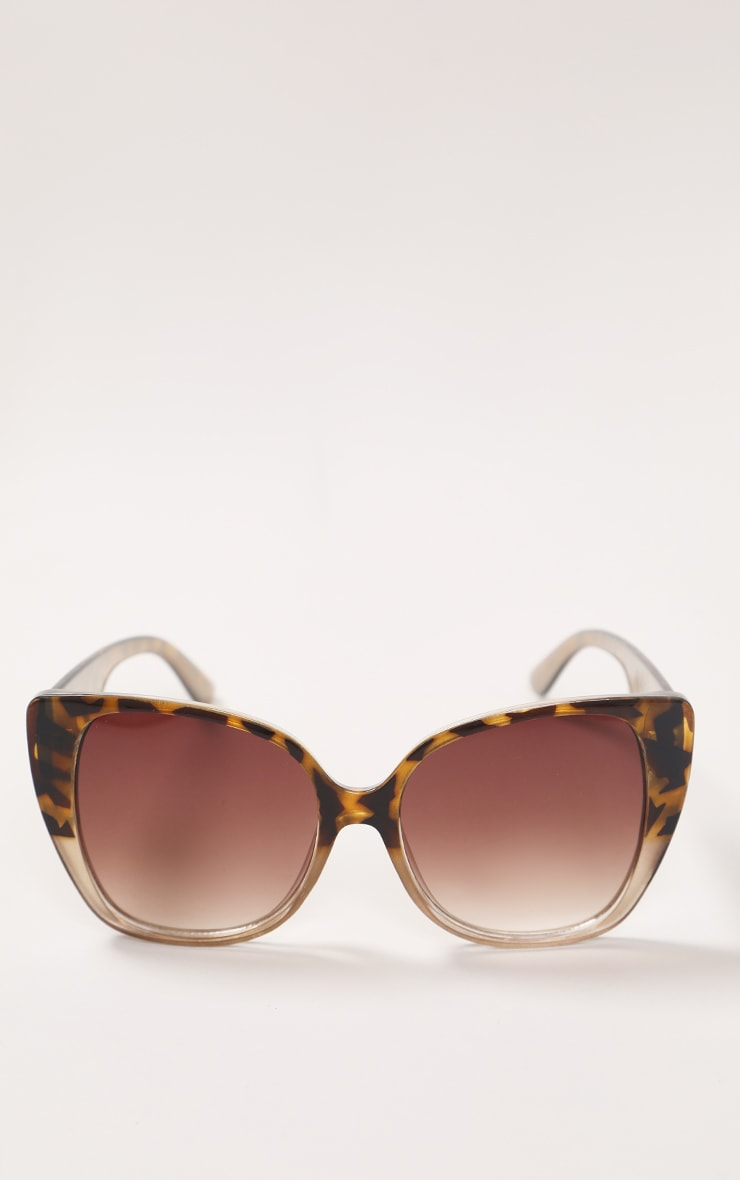 Brown Half Tort Oversized Cat Eye Sunglasses 1