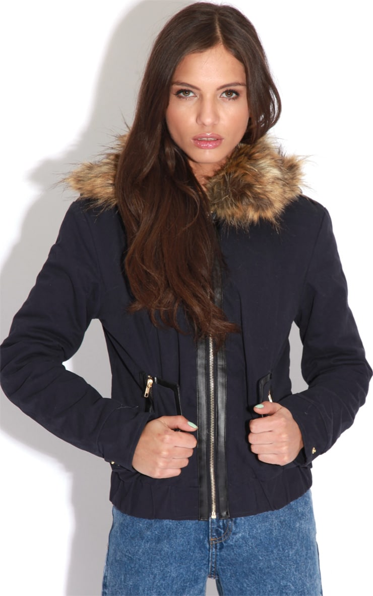Cecily Navy Leather Strip Coat 1
