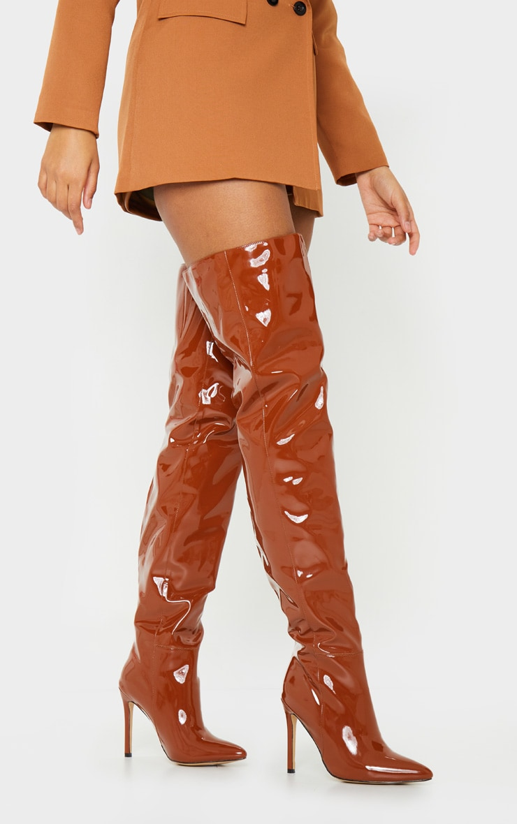 Chocolate Thigh High Stiletto Boot 2