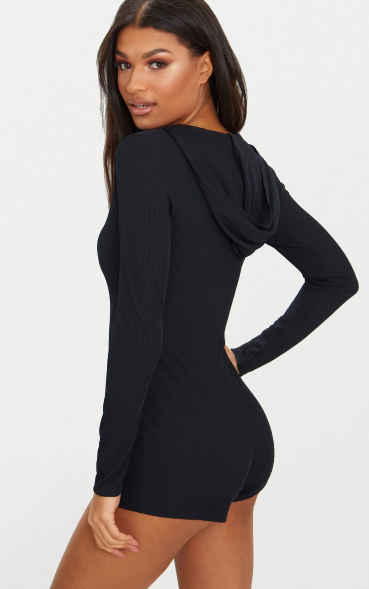 Black Ribbed Hooded PJ Romper image 1 31811079e
