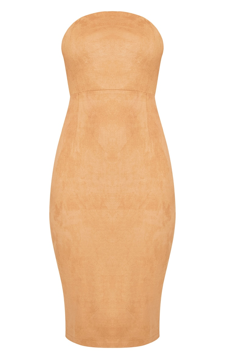 Kiya Tan Faux Suede Bandeau Midi Dress 3